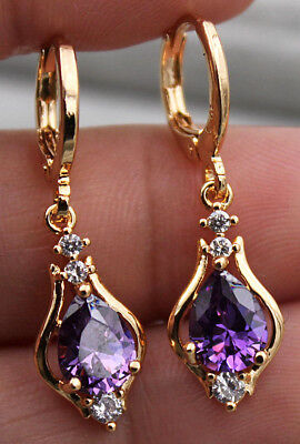 18K Yellow Gold Filled - 1.2'' Hollow Teardrop Amethyst Topaz Zircon Earrings