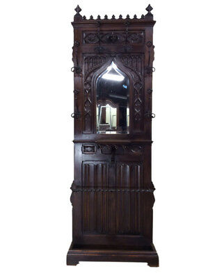 Terrific Antique French Gothic Hall Rack / Hall Tree, Walnut, 19th Century