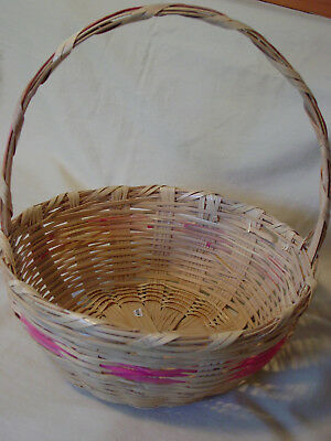 Vintage Mexico Round Woven Wicker Easter Basket