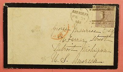 1868 Gb Mourning Cover #45 Plate 6 Aberdeen To Usa