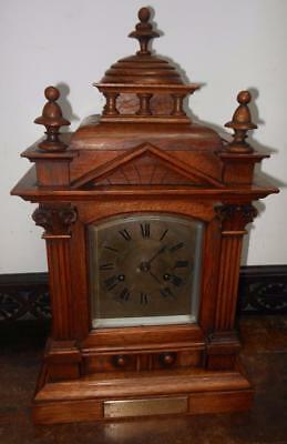 oak cased ting tang bracket clock  dated 1916