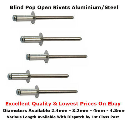 2.4mm 3.2mm 4mm 4.8mm Blind Aluminium Steel Dome Head Open End Pop Rivets 15977