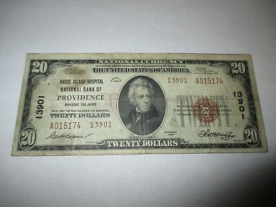 $20 1929 Providence Rhode Island RI National Currency Bank Note Bill! #13901