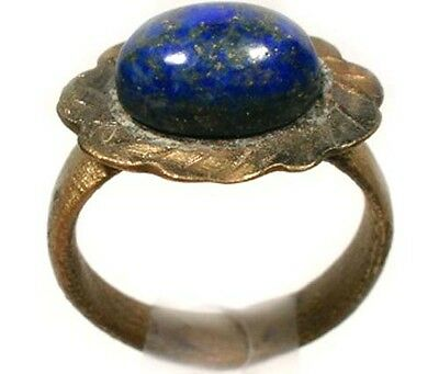 Roman-Celtic Flower Ring Sz 9¾ Bithynia AD400 & 19thC Antique 5¾ct Lapis Lazuli