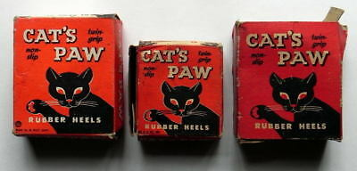OLD SHOE STORE STOCK CAT'S PAW RUBBER SHOE HEELS in BOXES