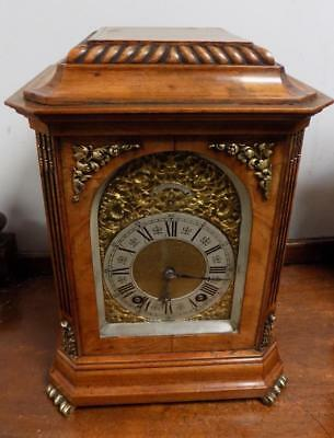 burr walnut lenzkirch ting tang 1/4 strike bracket clock by lenzkirch c1900s