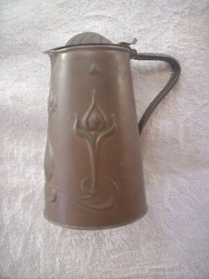 Antique J.s & S 1 1/2 Pint Solid Copper Lidded Jug Joseph Sankey Made In England