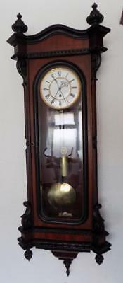 rare walnut & ebonised single weight vienna wall clock with center sweep feature