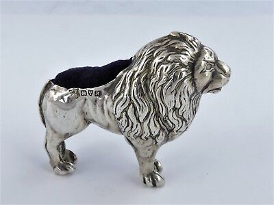 THE MYTHICAL LION silver Pin Cushion, Chester 1908 Very rare novelty pincushion
