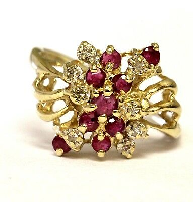 14k yellow gold .08ct VS G diamond red ruby ring 3.8g estate vintage antique