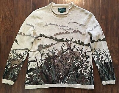Vtg Lauren Ralph Lauren Ladies M Hand Knit Sweater Deer Woods Scene Cotton