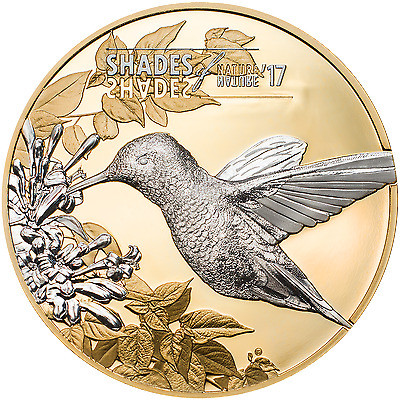 2017 SHADES OF NATURE - HUMMINGBIRD Gold Gilded Silver Coin Cook Islands $5