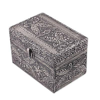 PERSIAN PARADISE Indian Repousse Nickel Plated Brass JEWELRY BOX    NOVICA