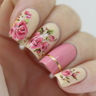 2 Sheets Nail Art Water Decal Transfer Stickers Pink Rose Flower Pattern Tips
