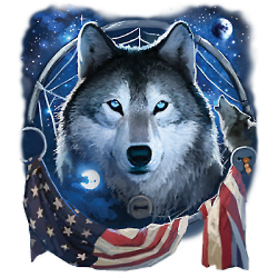 Wolf Dream Flag Size Youth Medium to 6 X Large T Shirt Pick Your Size