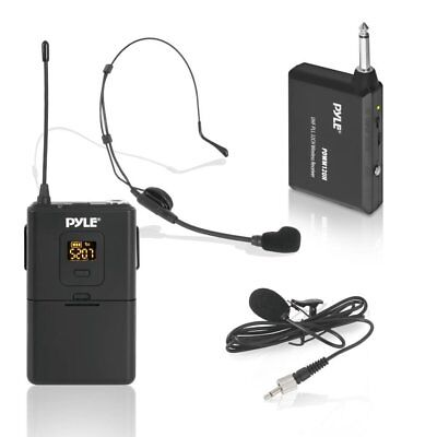 Pyle Wireless Microphones System Set w/ Headset & Mic, Transmitter, & Receiver