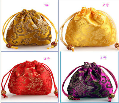 "4""x4"" TIBETAN DRAGON BAG: EMBROIDERED SILK BROCADE PRAYER BEAD MALA JEWELRY BAG"