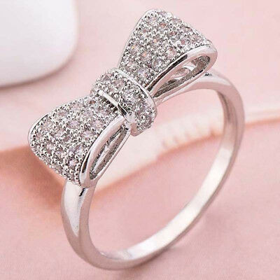 Women Fashion 925 Silver White Sapphire Bow Ring Engagement Wedding Jewelry Gift