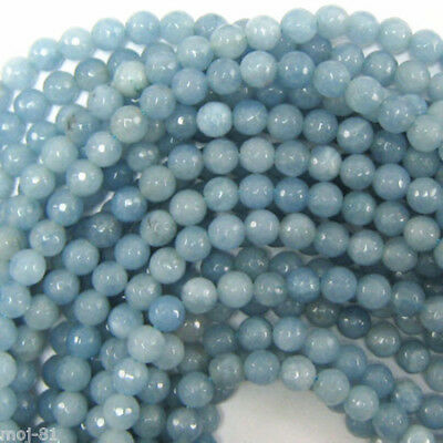 """6mm Natural Faceted Blue Aquamarine Round Gemstone Loose Beads 15"""" Strand AAA"""