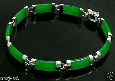 Pretty Natural Green Jade Gemstone Sterling Silver Fortune Lucky Link Bracelet