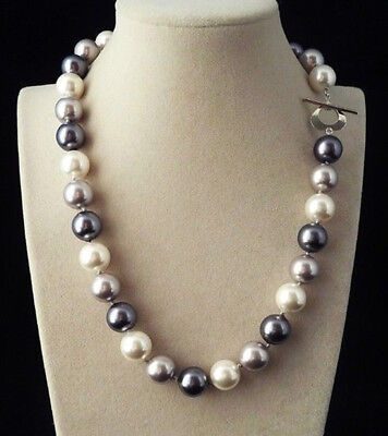 12mm Natural Black White Gray South Sea Shell Pearl Round Beads Necklace 18''AAA