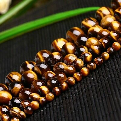 """4/6/8/10/12/14mm Natural Yellow Tiger's Eye Round Gemstone Loose Beads 15"""" AAA+"""