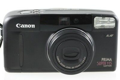 Canon Prima Super 115 Caption Kompaktkamera in schwarz m. 3.6-8.5 38-115mm Optik