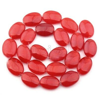 """13x18mm Natural Smooth Red Jade Oval Gemstone Loose Beads Strand 15"""" AAA"""
