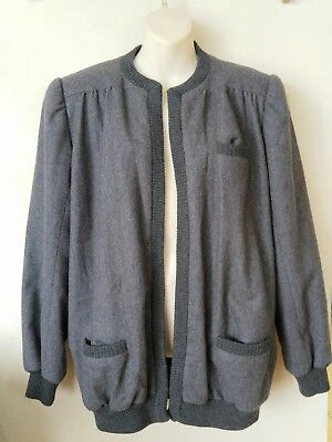 German Quiesser Wool Jacket Womens L 14 16 Vintage Gray 100% virgin wool Retro
