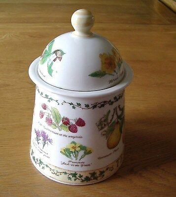 """Dunoon Stoneware """"Tea"""" Storage Jar With Cover—Nature Trail Pattern."""