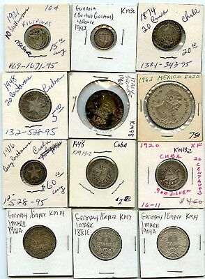 12 Pc. Silver Coin Lot Italy, Germany, Mexico, Caribbean, Ect.!!!..starts @ 2.99
