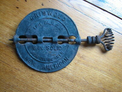 "Vintage/Antique Griswold 6"" Solid American Steel Spindle Stove Flue Pipe Damper"