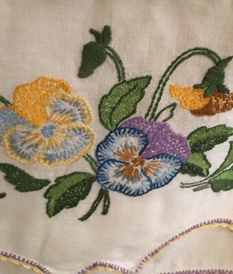 Vintage Sweet Lavender Pansies Pansy Embroidered PIllow Case