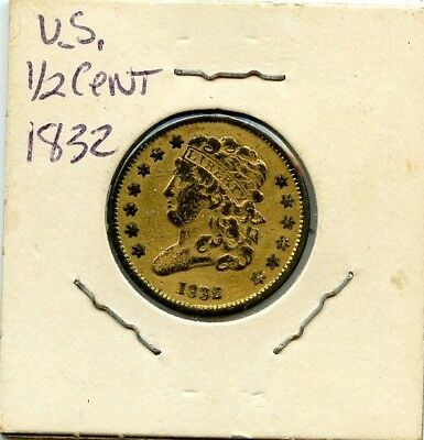 1832 Classic Head Half Cent Gilt In Gold!!!..starts @ 2.99