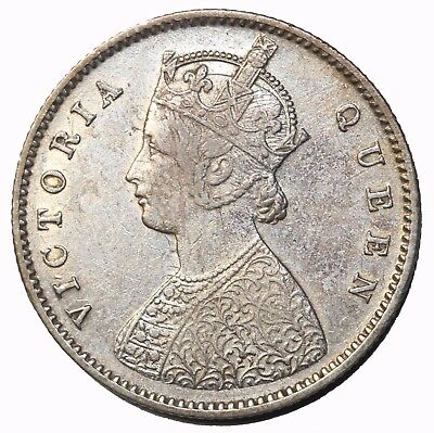 British India 1875-C Queen Victoria Silver 1/2 Half Rupee KM#470