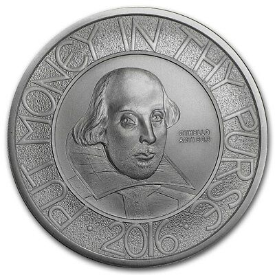 "2016 United Kingdom £2 1 oz Silver Coin ""400th Anniversary Death of Shakespeare"""