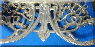 Pr Antique Victorian Detailed Brass & Beveled Glass Mirror Candle Wall Sconces