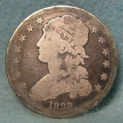 1838 Capped Bust Silver Quarter GOOD- Details * US Coin *