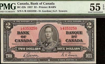 1937 $2 DOLLAR BILL BANK OF CANADA NOTE CURRENCY PAPER MONEY BC-22b PMG 55 EPQ