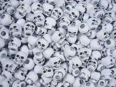 Pony Beads Skulls 50pc White 9x6mm Halloween Hair Party Fun Rave FREE POSTAGE