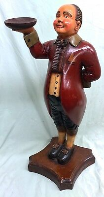 """Lovely Old Solid Painted Wood Carved Butler Card Tray Stand Large 26"""" 66cm Tall"""