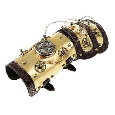 Steampunk Leather Arm Band Cuff with LED Light Vintage Costume Prop