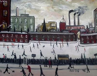 Original Impressionist Oil Painting John Goodlad Northern Art DARK SATANIC MILLS