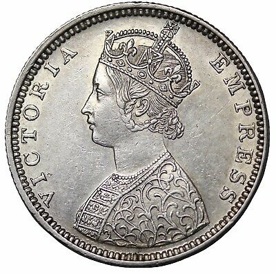 British India 1877-B Dot Queen Victoria Silver 1/2 Half Rupee KM#491