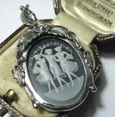 VINTAGE Style STERLING SILVER Pretty Greek Three Graces CAMEO JEWELLERY PENDANT