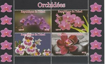 Chad 7431  - 2015 ORCHIDS #1 perf sheetlet of 4  values unmounted mint