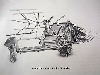 SET UP INSTRUCTION MANUAL NO 25 RICE BINDER MOLINE PLOW COMPANY EARLY 1900s