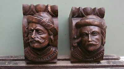 SUPERB PAIR OF 19thc BLACK FOREST OAK CARVED MALE HEAD CORBELS
