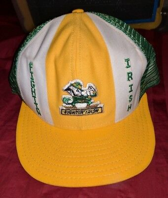 Notre Dame Fighting Irish Trucker Snapback Hat Cap Vintage Green Ncaa Htf Rare