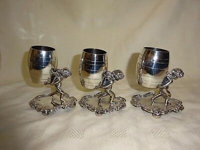 Antique Set Of 3 Cherub Toothpick Holders - Barbour Silver Plate Co